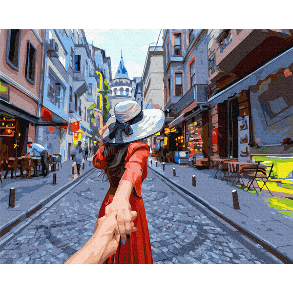 Картина по номерам Люди на картинах - Путешественница на прогулке