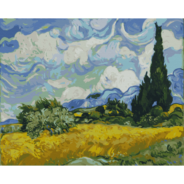Картина по номерам Репродукции художников - Поле с зелёной пшеницей и кипарисом. Винсент Ван Гог