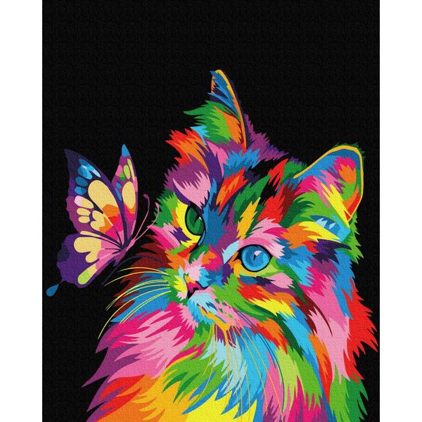 Картина по номерам Поп-арт - Котик в фарбах