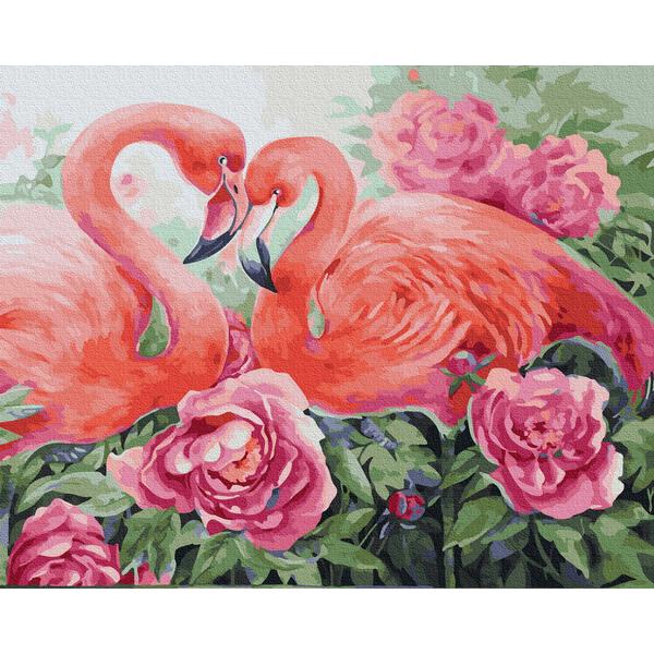 Картина по номерам Животные, птицы и рыбы - Пара фламінго