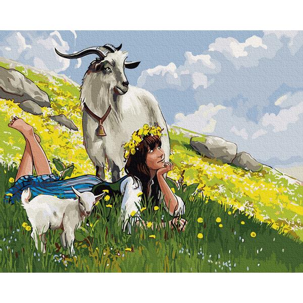 Картина по номерам Украинские города и пейзажи - Пастушка на горе