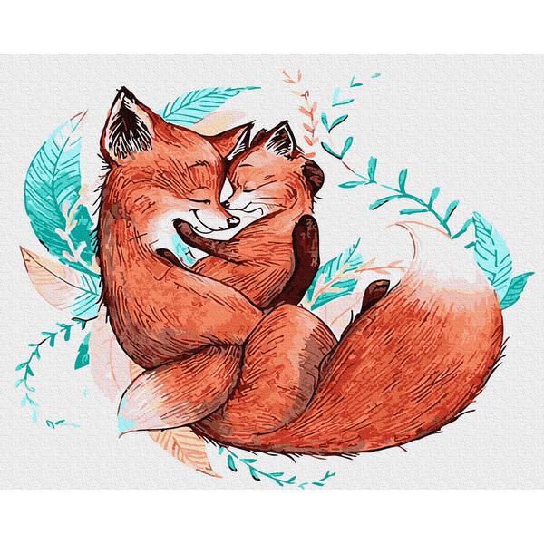 Картина по номерам Животные, птицы и рыбы - Объятия лисички