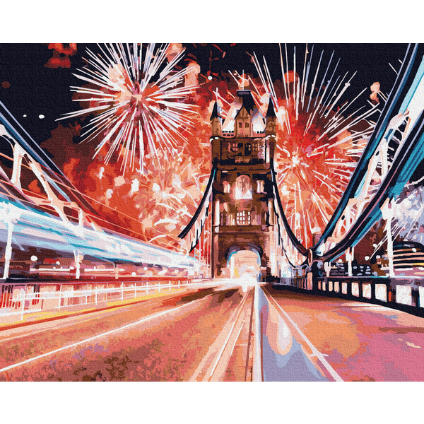 Картина по номерам Города - Феєрверки над мостом