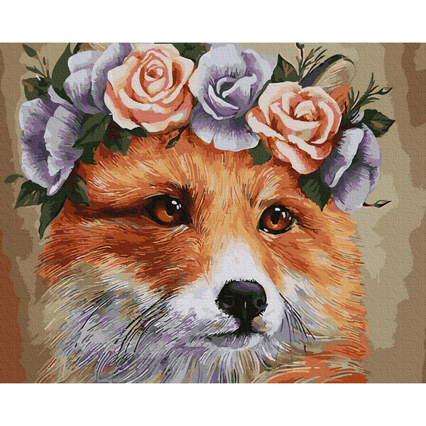 Картина по номерам Животные, птицы и рыбы - Лисичка в веночке
