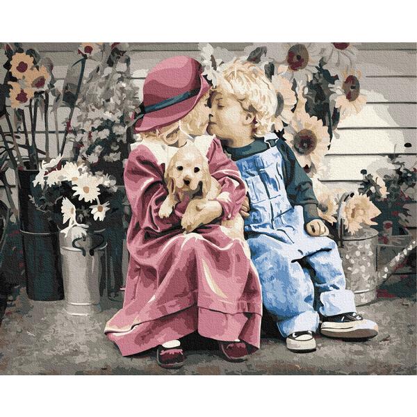 Картина по номерам Дети и ангелочки - Перша закоханість