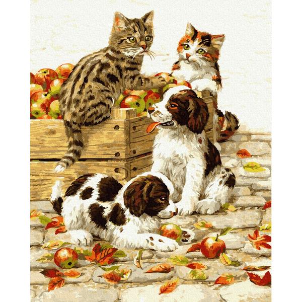 Картина по номерам Животные, птицы и рыбы - Игривые любимцы