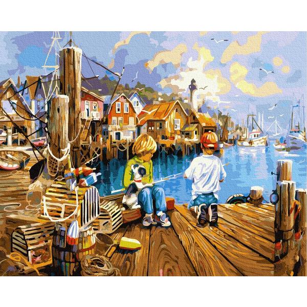 Картина по номерам Дети и ангелочки - Маленькие рыбаки