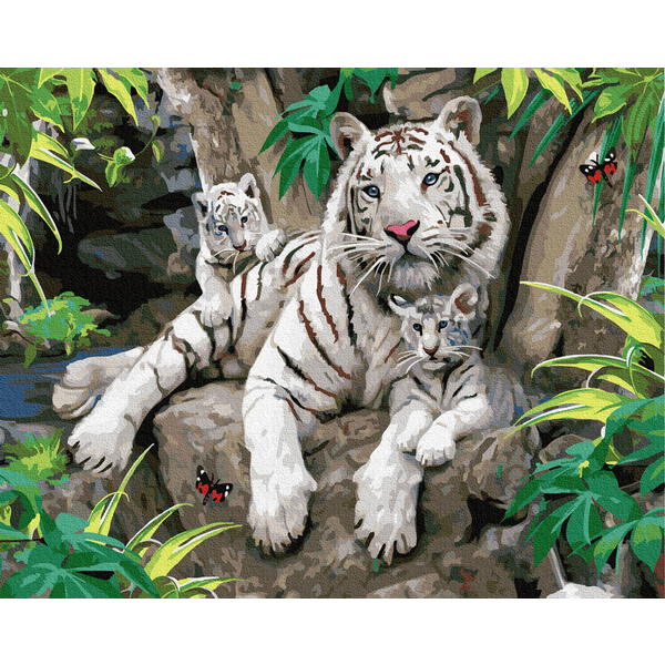 Картина по номерам Животные, птицы и рыбы - Сім'я білих тигрів
