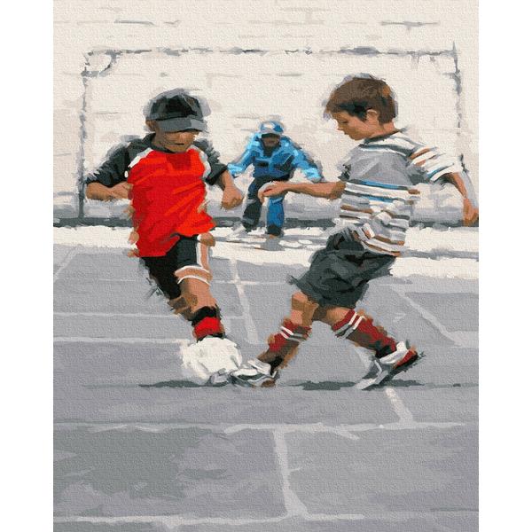 Картина по номерам Дети и ангелочки - Маленькие футболисты
