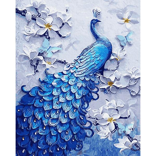Картина по номерам Животные, птицы и рыбы - Синій павлін