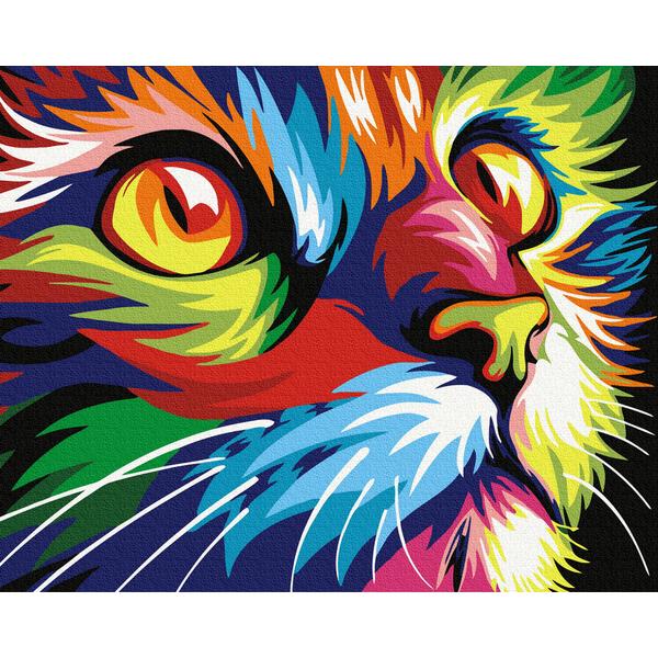 Картина по номерам Поп-арт - Барвистий кіт