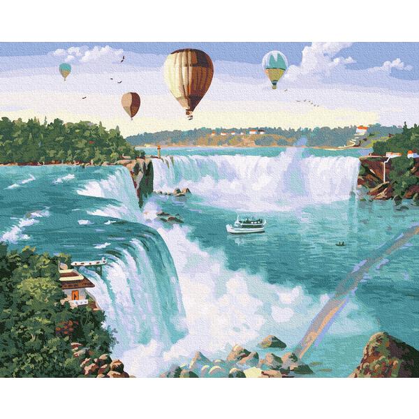 Картина по номерам Пейзажи - Повітряні кули над водоспадом