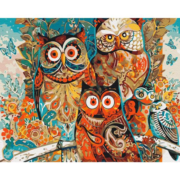 Картина по номерам Животные, птицы и рыбы - Волшебные совы