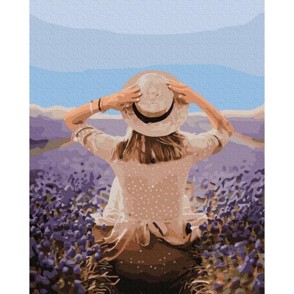 Картина по номерам ПРЕМИУМ картины - Мандрівниця в лавандовому полі