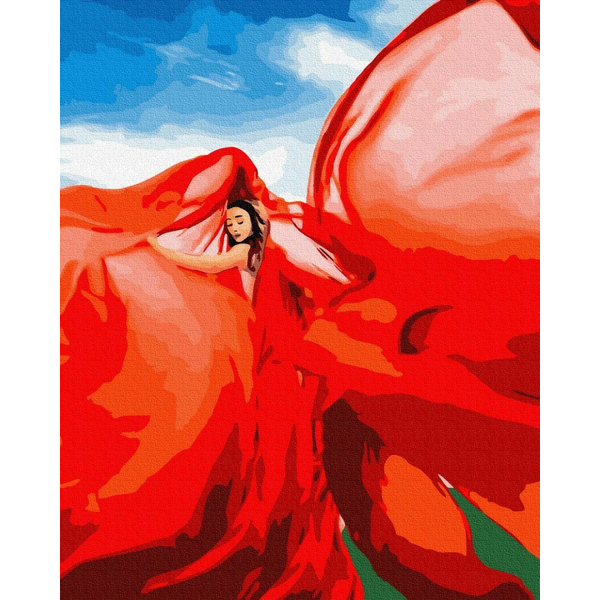 Картина по номерам ПРЕМИУМ картины - Жінка в червоному