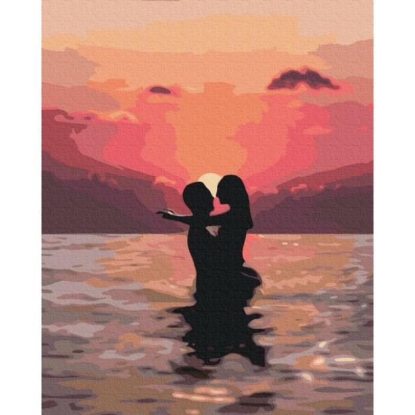Картина по номерам ПРЕМИУМ картины - Закохані на заході сонця