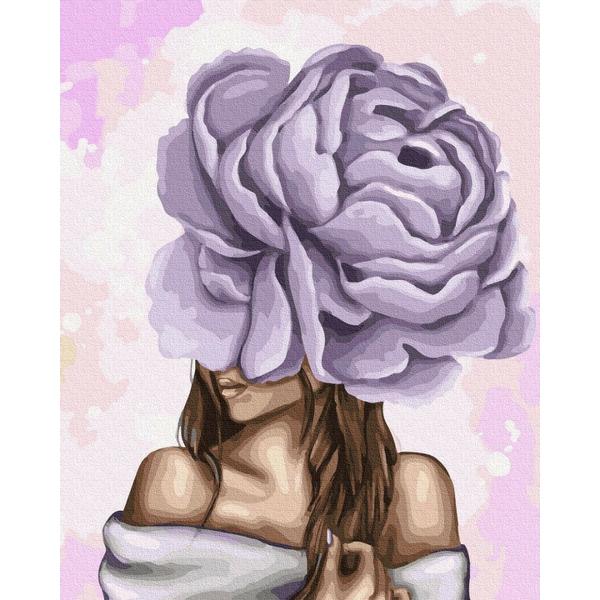 Картина по номерам ПРЕМИУМ картины - Дама з фіолетовим піоном
