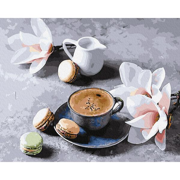 Картина по номерам ПРЕМИУМ картины - Кофе с орхидеями