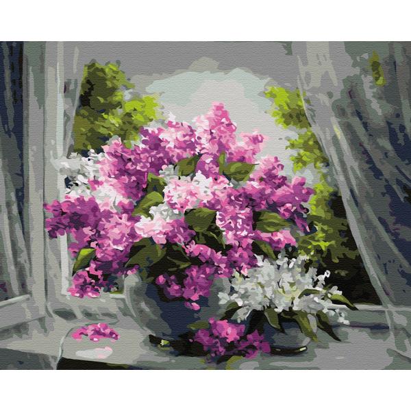 Картина по номерам Цветы - Сирень на окне