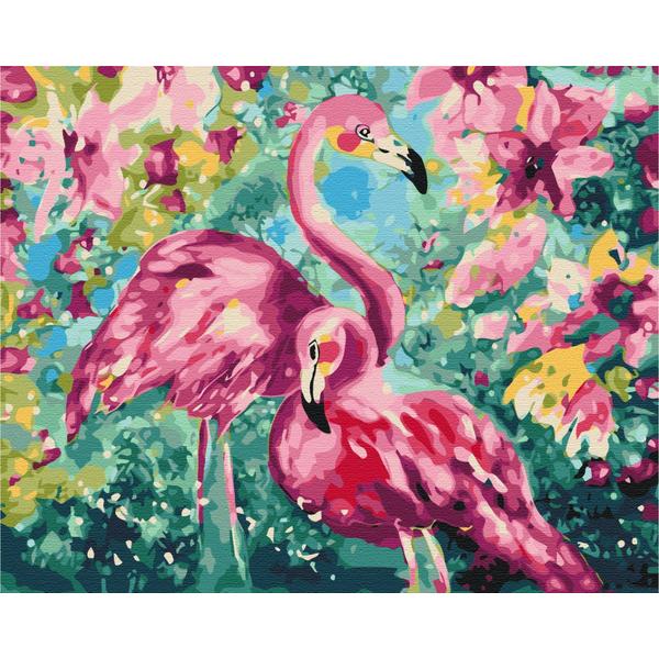 Картина по номерам Животные, птицы и рыбы - Квітковий фламінго