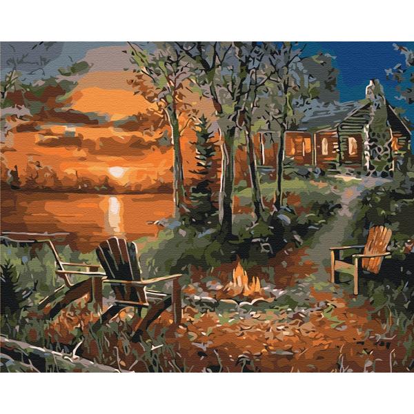 Картина по номерам Природа - Дом у озера
