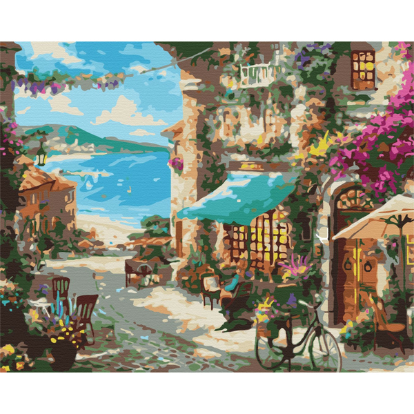 Картина по номерам Города - Улица приморського городка