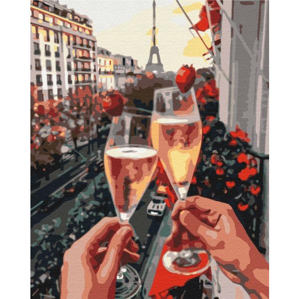 Картина по номерам Города - Бокалы Парижа с ягодами