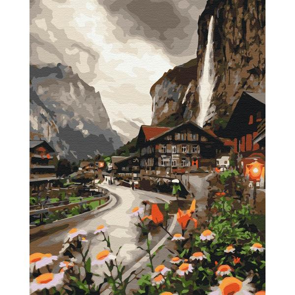 Картина по номерам Пейзажи - Городок в Швейцарии