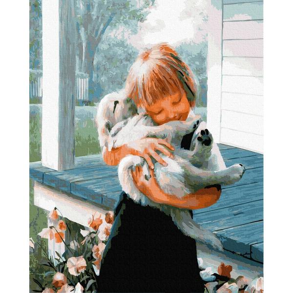 Картина по номерам Дети и ангелочки - Девочка с любимцем