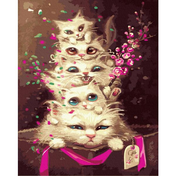 Картина по номерам Животные, птицы и рыбы - Эмоциональные котята