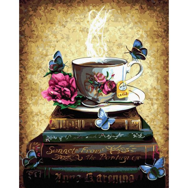 Картина по номерам Натюрморты - Бібліотечне чаювання