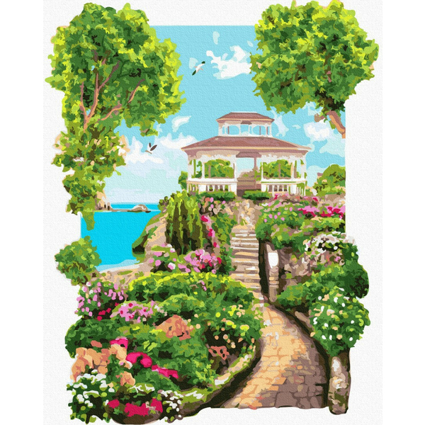 Картина по номерам Пейзажи - Коллонада в саду