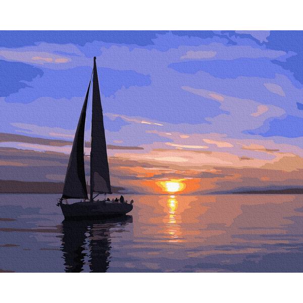 Картина по номерам Пейзажи - Парусник на закате