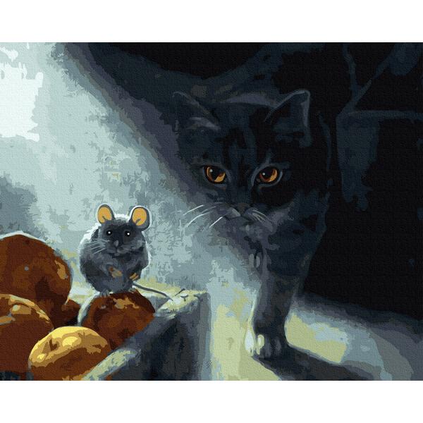 Картина по номерам Животные, птицы и рыбы - Кіт-мисливесь в тіні