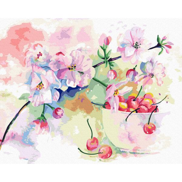 Картина по номерам Натюрморты - Весенняя черешня акварелью