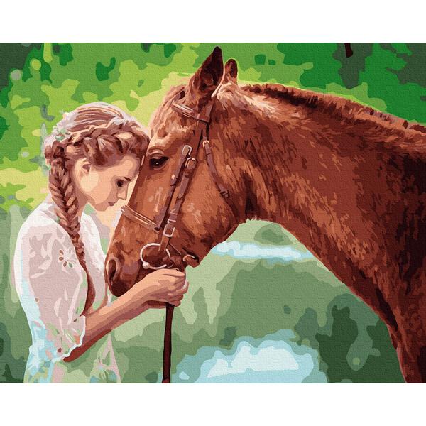 Картина по номерам Животные, птицы и рыбы - Юна дівиця з конем