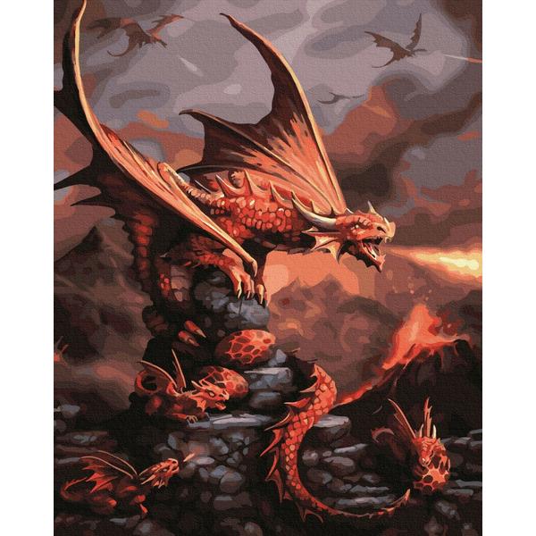 Картина по номерам Авторские коллекции - Вогняний дракон