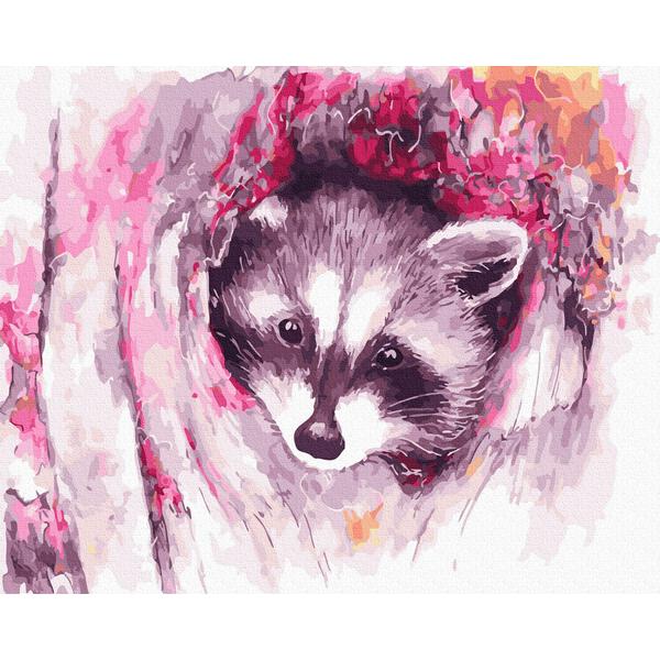 Картина по номерам Животные, птицы и рыбы - Милый енотик