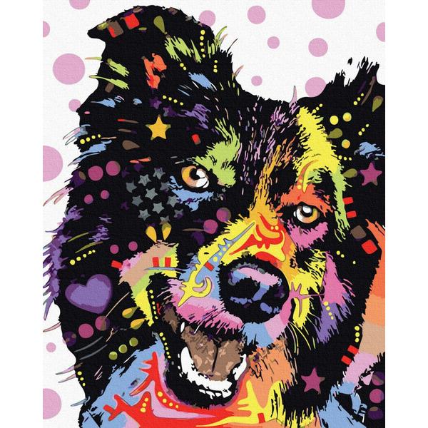 Картина по номерам Поп-арт - Пес в фарбах