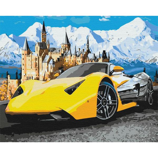 Картина по номерам Корабли, авто и самолеты - Lamborghini біля замку